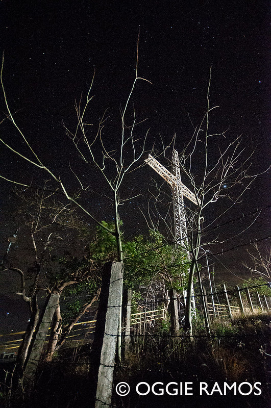 Coron  - Mt. Tapyas Top Deck Cross and Dramatic Trees at Night