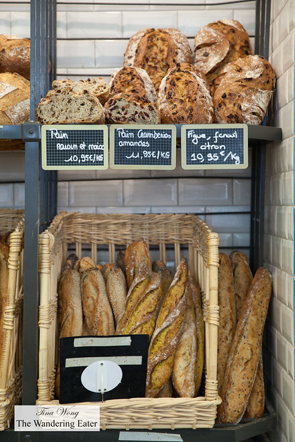 Curry baguettes, plain baguette, Fig & fennel citron bread and other artisan breads