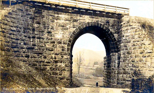 Central Railroad of New Jersey Skewed Stone Arch Bridge--Vintage Postcard circa 1910