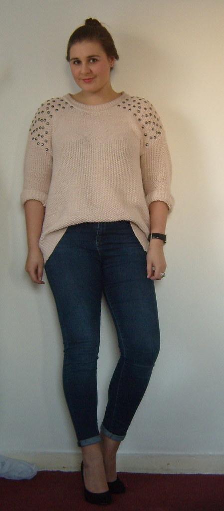 Pink Studded Jumper & Jamie Jeans