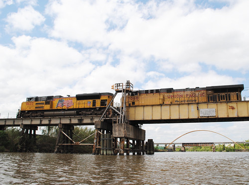 up uprr union pacific railroad railway lift bridge pony steel girfer movable draw greens bayou houston harris county texas kayak kayaking pontist united states north america