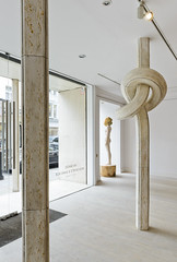 <strong>The Tainted - </strong> <br />Exhibition view: Shan Hur, Knotted Pillar, 2013 (right); Aron Demetz, Sensa Titolo, 2013 (left)