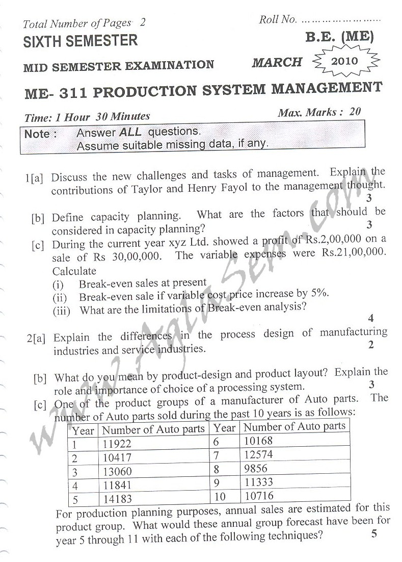 DTU Question Papers 2010 – 6 Semester - Mid Sem - ME-311