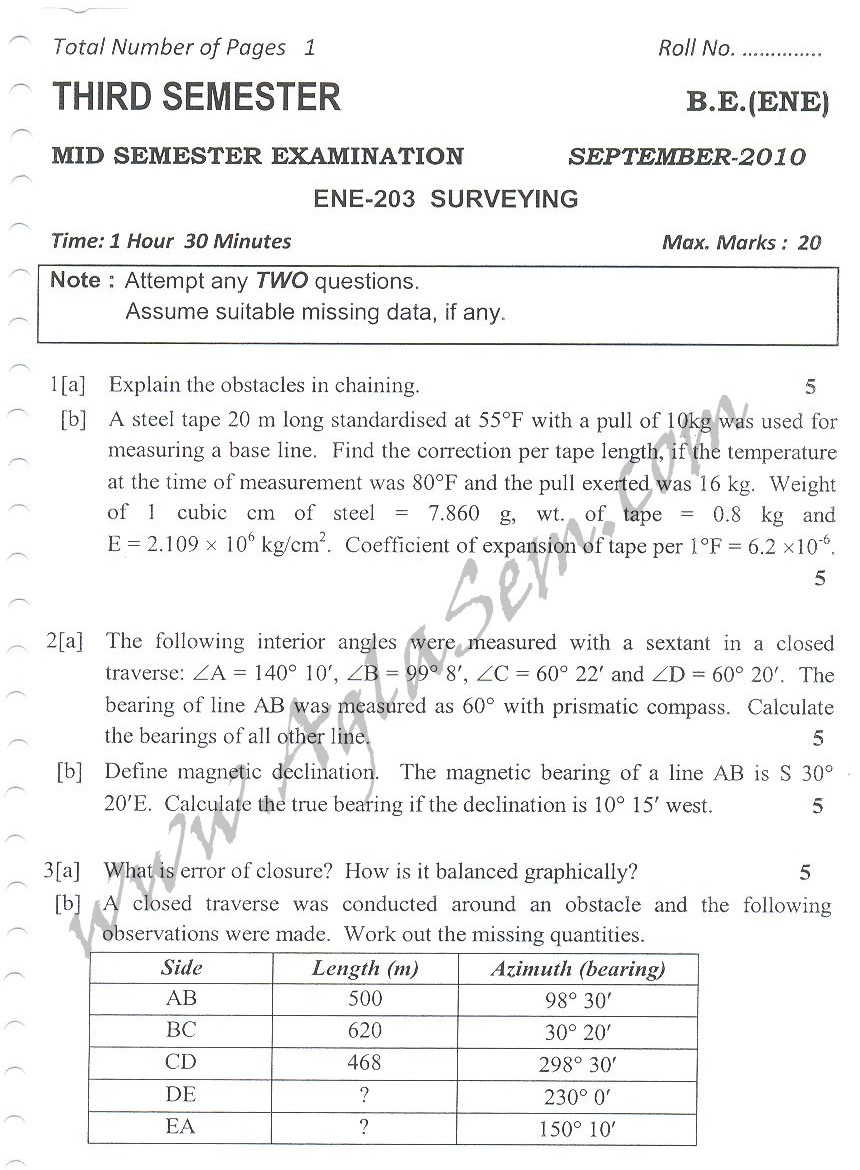 DTU Question Papers 2010 – 3 Semester - Mid Sem - ENE-203