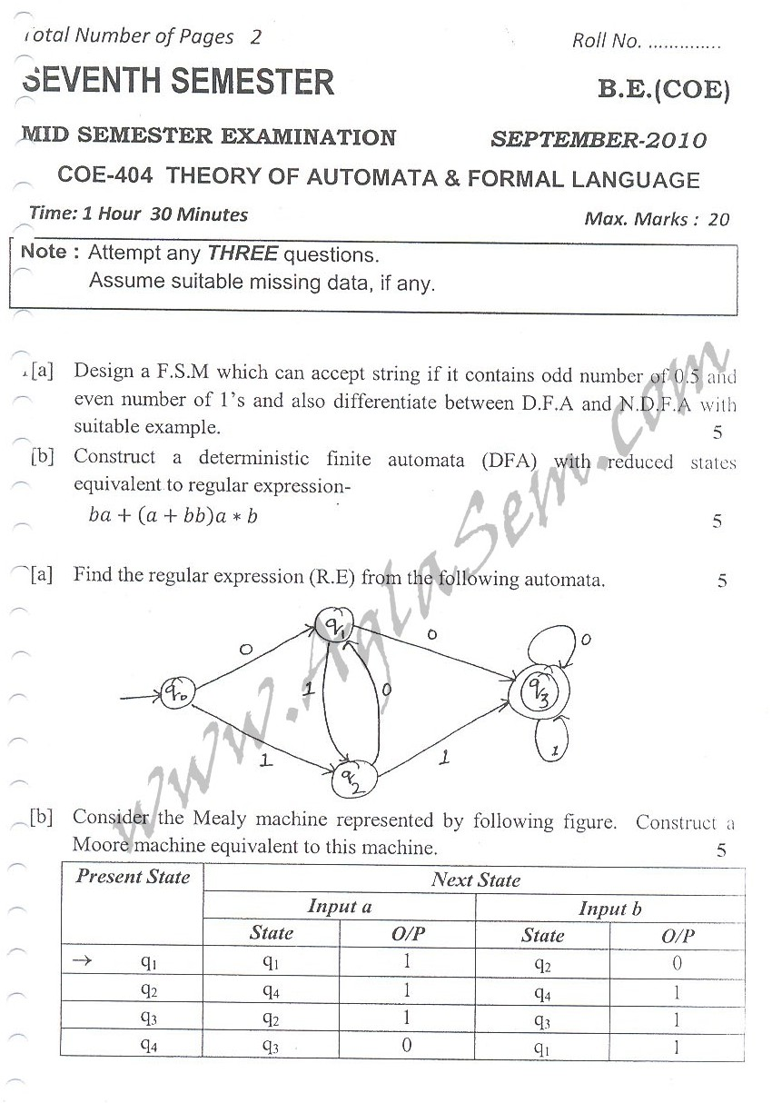 DTU Question Papers 2010 – 7 Semester - Mid Sem -  COE-404