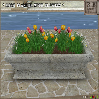 RnB Mesh Planter with Flowers - Yellow-Pink Tulips