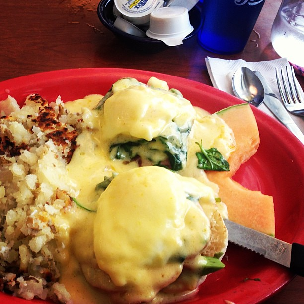Yum yum cheese benedict.   I ate in Denver break first.