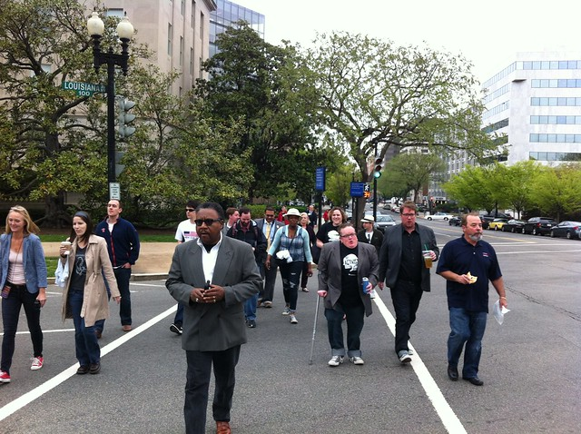 Grassroots activists walk to the RNC