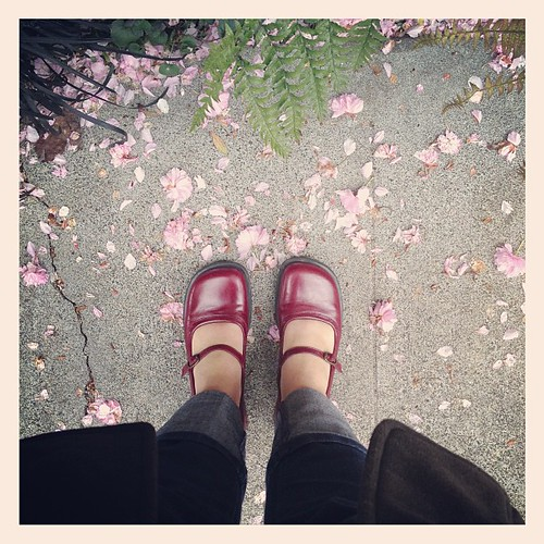 Wearing by ruby red wedding shoes today (yes from 12 yrs ago!). They still make me happy.