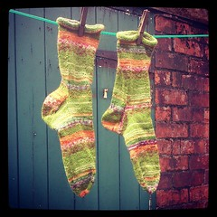 Socks made with Drops Fabel in Guacamole colorway. This is the hardest wearimg sock yarn I've ever used and the least expensive, too. £2.10 per 50 gms.