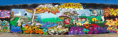 Kingspoint The Mullet wall Panoramic shot - Houston Graffiti 2013