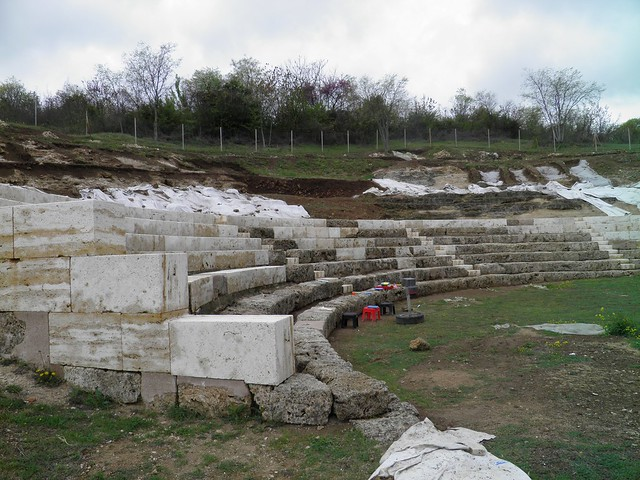 The Hellenistic Theatre (2nd century BC) undergoing excavations, Ancient Mezia, Macedonia, Greece