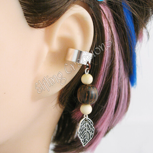 Wood and Leaf Cartilage Ear Cuff