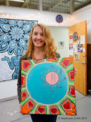 Donna with her new mandala