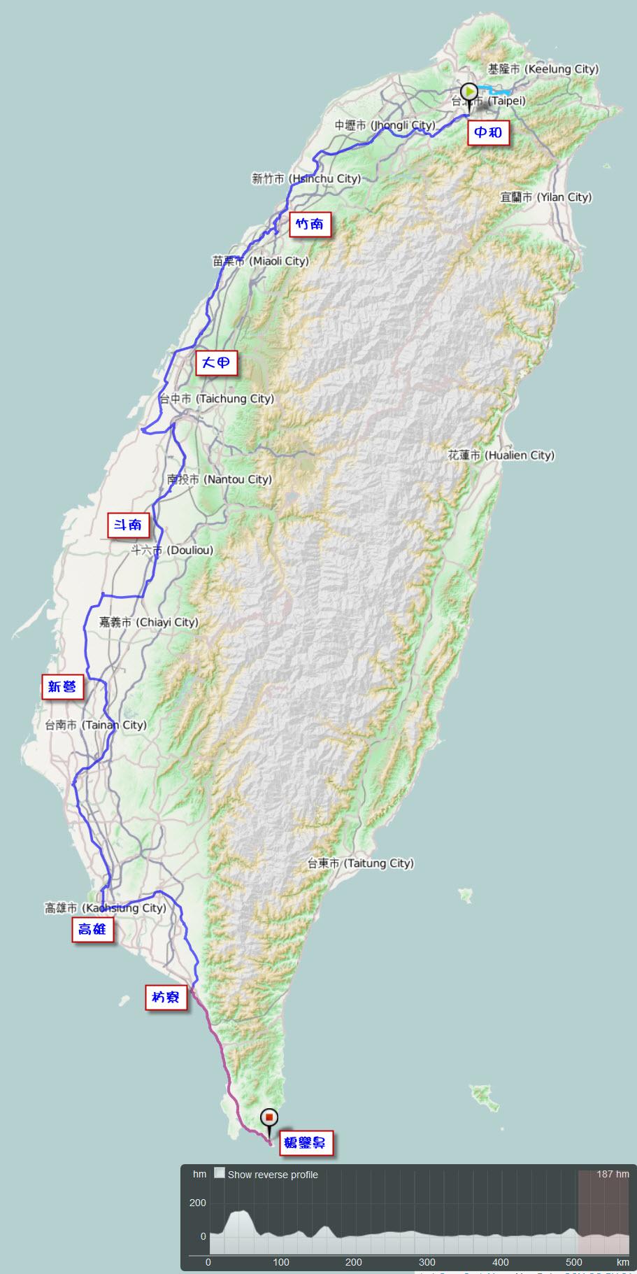 2011.10.09-15.單車環島.路線軌跡圖