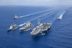 USS Princeton (CG 59) and USS Nimitz (CVN 68) conduct a repelenishment at sea with USNS Guadalupe (T-AO 200) April 29 as USS Momsen (DDG 92) and USS Preble (DDG 88) sail with the ships in formation. (U.S. Navy photo by Mass Communication Specialist 1st Class Michael D. Cole)