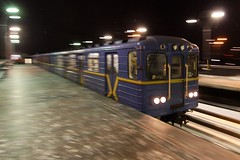 Dnipro (Днiпро) station as a Type 'EЖ' train arrives