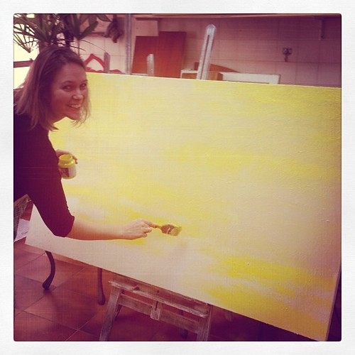 Curso de pintura em tela, ao vivo! rsrsrs. Minha querida aluna Ra! #tela #pintura #cursodepintura