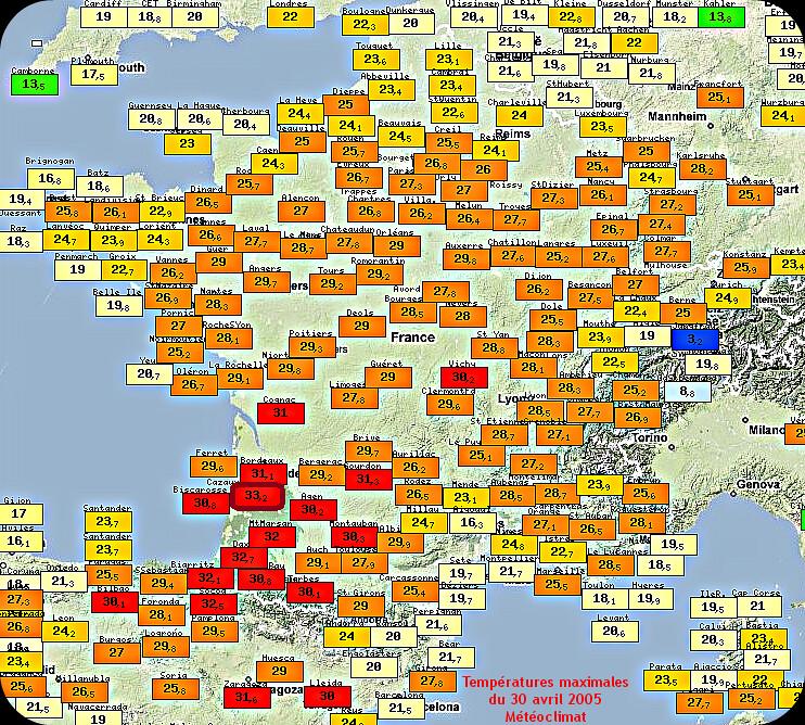 températures maximales et records de chaleur du 30 avril 2005 météopassion