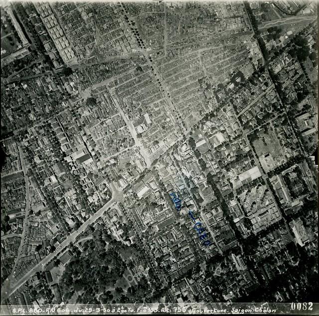 1950 Saigon Aerial View - Ngã 6 Phù Đổng (góc dưới trái), đường Lê Văn Duyệt