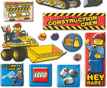 "Construction worker Lego with sticker that says, ""Hey Babe!"""