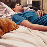 Sleeper with cat; oil on canvas, 18 x 36 in, 2015