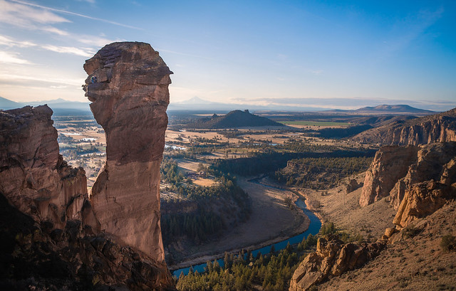 Climbers on top of the Monkey Face, Smith Rock, Oregon