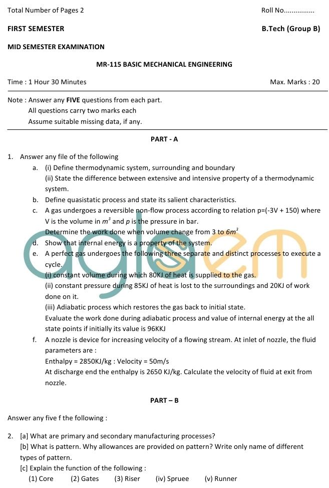 DTU Question Papers 2010 – 1 Semester - Mid Sem - MR-115