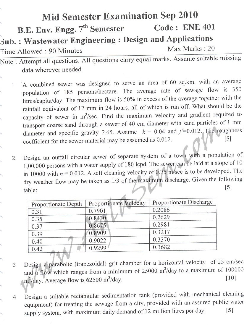 DTU Question Papers 2010 – 7 Semester - Mid Sem -  ENE-401