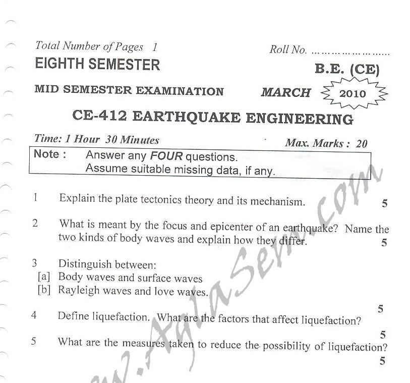 DTU Question Papers 2010 – 8 Semester - Mid Sem - CE-412