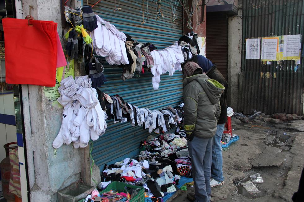Buying some socks in Darjeeling