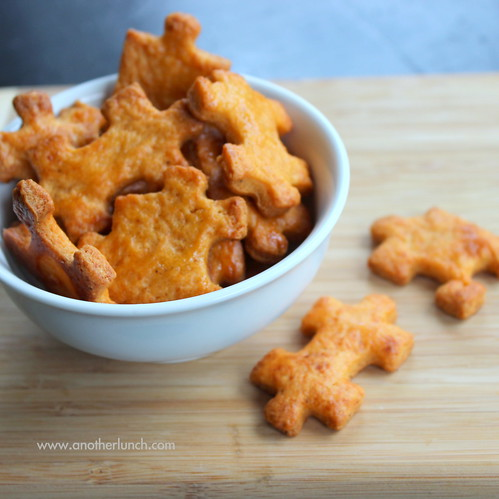 Homemade cheese crackers - spicy cheddar puzzle pieces