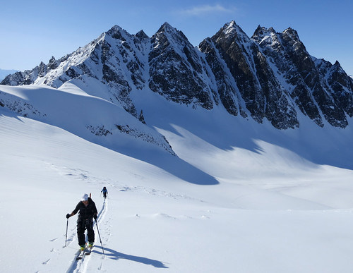 Plane access skiing in Wrangell St Elias National Park with Wild Alpine Guides