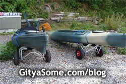 Kayak dollies carts on wheels