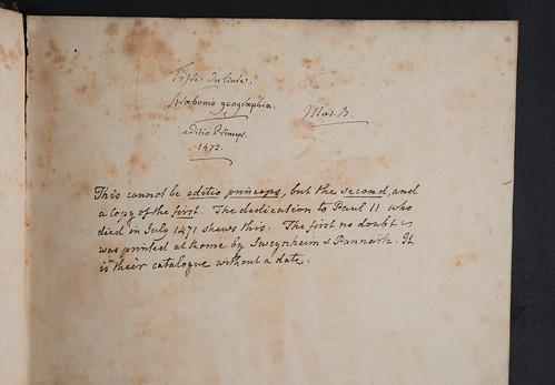 Instructions to binder in Strabo: Geographia, libri XVI