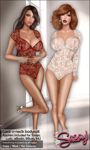 Lace V-Neck Bodysuit w appliers