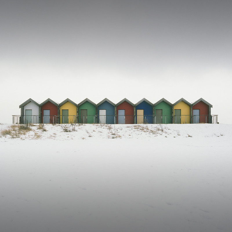 huts in snow