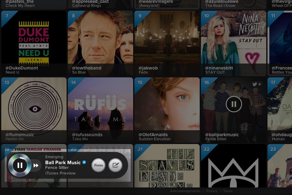 Twitter #music - Media player