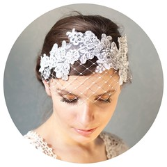 Lace Headband with French Veiling
