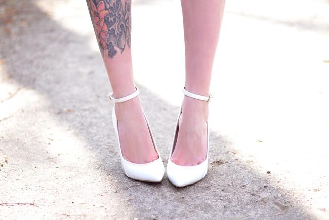 White ankle strap heels Kurt Geiger
