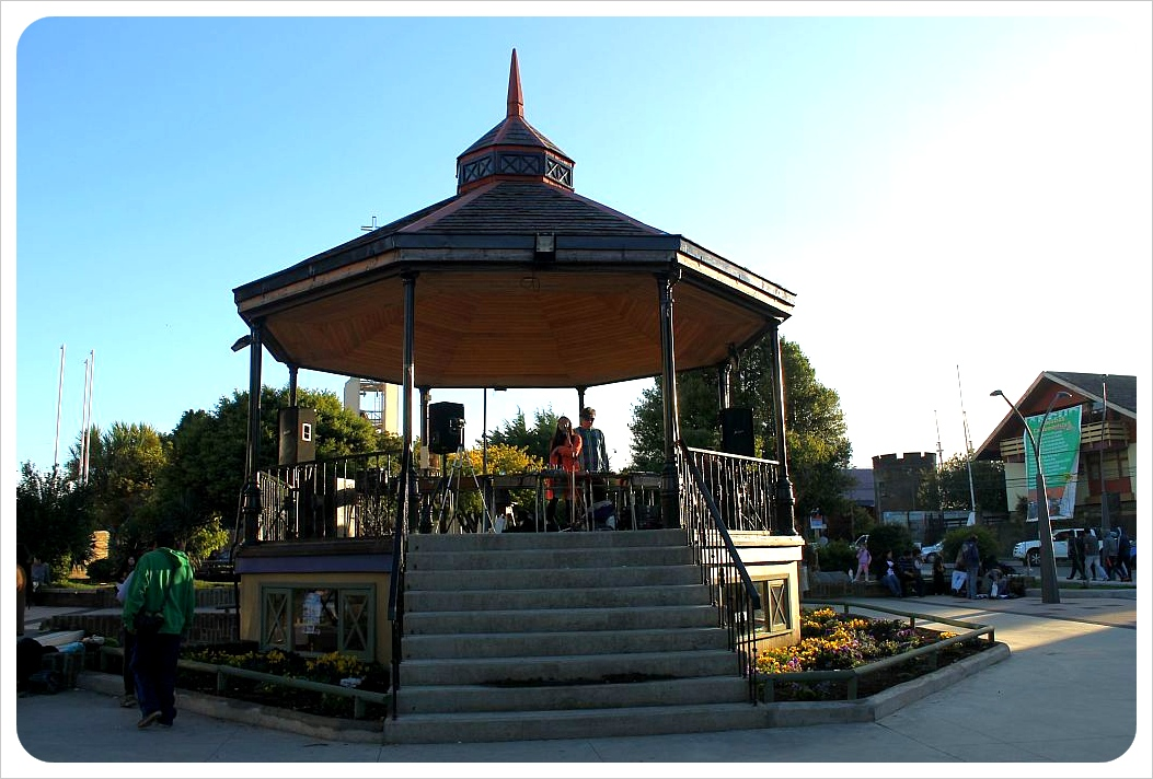 ancud plaza at sunset
