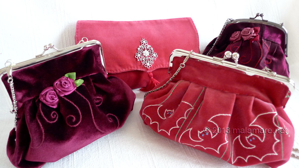 Formal velvet and satin handbags