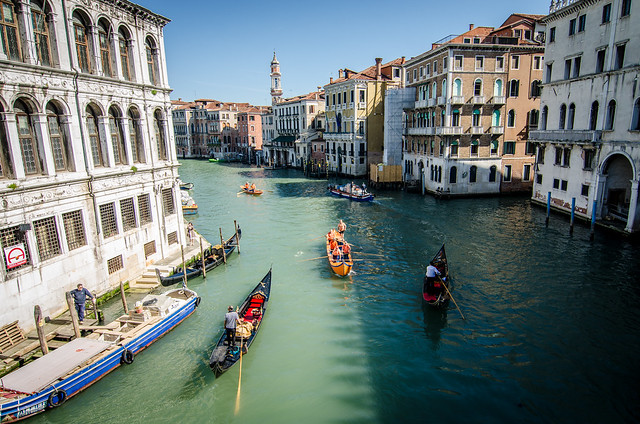 A view of the many gondolas making their way down Venice's Grand Canal.