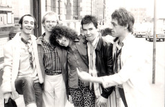 BP Fallon & Jeff Dexter & Marc Bolan & Boomtown Rats Johnnie Fingers & Bob Geldof outside the 'Marc' tv studios in Manchester 1977