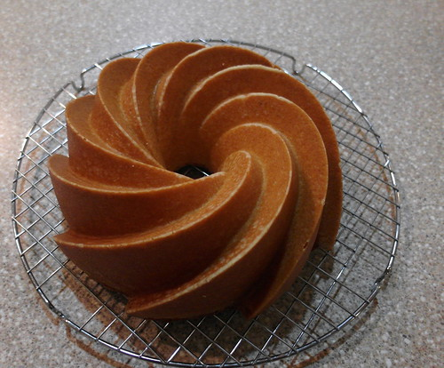 Cake in Heritage Bundt Swirl Pan by NordicWare