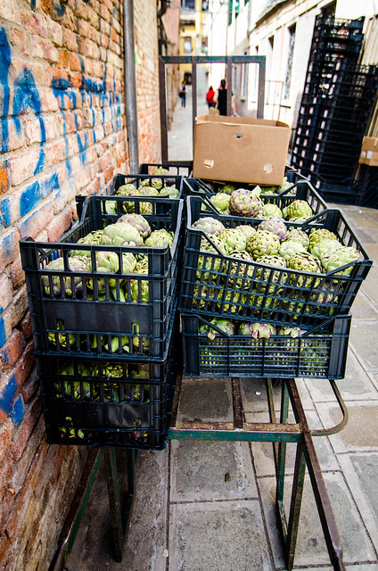 Some Venetian artichokes await their fate.