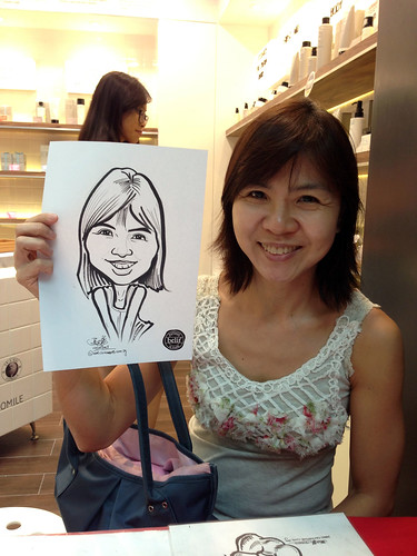 caricature live sketching for Belif New Store Opening - Day 2