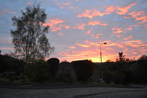 Sun setting in Melrose