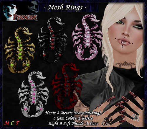 *P* Mesh Scorpion Rings ~8 Metals-9 Gems~