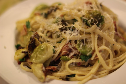 Roasted brussel sprout carbonara